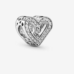 Pandora Sparkling Free Hand Silver Heart Charm